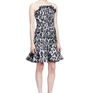 Lanvin Strapless Leopard Jacquard Flounce Dress